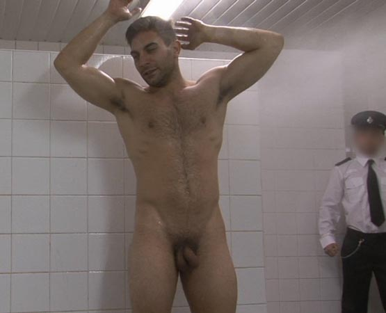 naked men in cold shower
